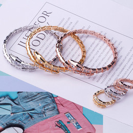 $enCountryForm.capitalKeyWord NZ - Newest Hollow Snake Rings Bangles Luxury Full Diamond Gold Silver Rose Bracelets Rings Sets Couples Fashion Wedding Jewelry Lovers Gifts