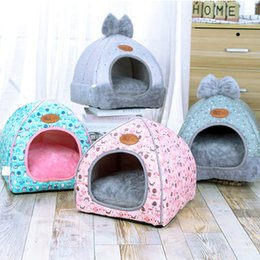 kennels pens Australia - Small Pet Dog House Kennel Bed Mat Cat Blanket Pets Tent Unfolding To Be Thicken Winter Pet Beds Mattress Flannel Fabric Warm kennels pens