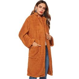 5acda7e476c6 Women Autumn Winter Wool Blends Lamb Faux Fur Long Jacket Coats Pocket  Female Thick Warm Solid Teddy Fleece Soft Plush Outerwear A64