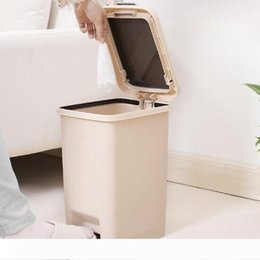 trash kitchen UK - 10L Pressing Foot Pedal Dual Function Double-Cap Foot Trash Dustbin garage can room dustbin kitchen Trash Can