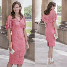 3359288bb71 Hot Sale Full Lace Mother of the Bride Dresses V Neck Short Sleeves Wedding  Guest Dress Knee Length Prom Gowns