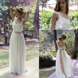 $enCountryForm.capitalKeyWord Australia - Most Popular A Line Scoop Floor Length Chiffon White Ivory Beach Wedding Dresses Lace Top Custom Made New Arrival Wedding Dress Bridal Gowns