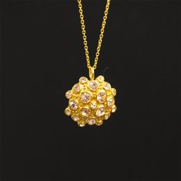 Necklaces Pendants Australia - 316L Stainless Steel Round Flower Pendant Necklace Full Rhinestones Inlay Charm Sweater Chain Necklace for Women Lover Gift VICHOK