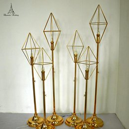 Led candLe wedding centerpiece online shopping - 6pcs bag Gold Metal Candle Holder with LED for Wedding Event Decoration for Home Decor Table Centerpiece Lead Road