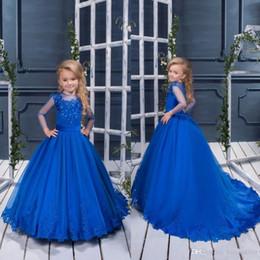 $enCountryForm.capitalKeyWord Australia - 2018 Royal Blue Girls Pageant Dresses Jewel Neck Lace Appliques Beaded Long Sleeves Princess A Line Belt Flower Girls Dress Birthday Gowns