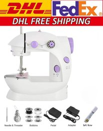 Wholesale DHL Free Shipping Mini Electric Sewing Machine Portable Household Handheld Sew Stitch Home Clothes Speed Adjustment with Light Foot Pedal