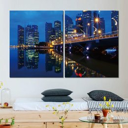 River Bridge Painting Australia - 2 sets HD canvas prints bridge river sea buildings unframed Painting for wall decor fine art