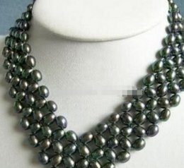 $enCountryForm.capitalKeyWord NZ - necklace Free shipping ++++Unique style 5 Rows Nobby Akoya Black Pearl Necklace