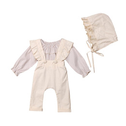 China 2019 Emmababy 3PCS Toddler Kids Baby Girl Autumn Clothes Ruffle Striped Top+Pant Overall Outfits Sets 1-6T cheap toddler striped overalls suppliers