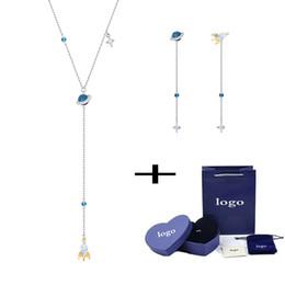 $enCountryForm.capitalKeyWord Australia - MULIER 2019rocket planet y-shaped sweater chain necklace earrings set gift box 5441389 5447696 send girlfriend gift