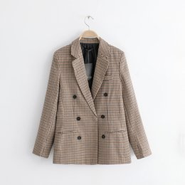 plaid jackets for women Canada - 2018 Autumn Women Brown Plaid Blazers Female Jackets for Women-s Outwear Feminine Office Ladies Notched Collar Tops Suits Sets Y190830