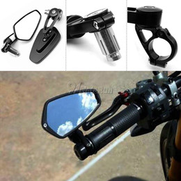 """Wholesale Universal Motorcycle Aluminum Rear View Black Handle Bar End Side Rearview Mirrors 1 Pair 7 8"""" 22mm motorcycle rearview mirrors"""