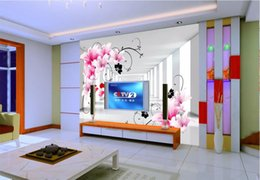 three dimensional pictures Australia - 3d room wallpaper custom photo mural Lily pattern petals three-dimensional space TV background wall art pictures wallpaper for walls 3 d