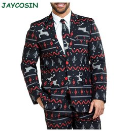Wholesale men wedding long coat resale online - JAYCOSIN Men Clothes Winter Christmas Print Blazer Jackets Coats Fashion Casual Long Sleeve Men Suits For Wedding