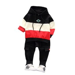 Hoodies Pants Kids Clothes Set UK - Spring Infant Clothing Kids Sports Splice Hoodie T-Shirt Pants 2pcs Sets Children Toddler Tracksuit Baby Boys Girls Clothes