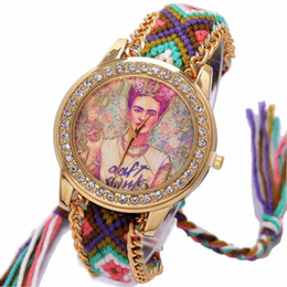 round hippie glasses NZ - Rainbow Geneva Watch Women vintage hippie Mexican Rhinestone Style dial Girl Fashion wristwatch Lace Chain Braid Reloj