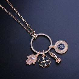 Rose Long Chain Pendant Australia - Turkish Circle Round Necklace Evil Eye Pendant Necklace Pave Cz Four Leaved Special Unique Long Chain Women Jewelry Nwx002782 Y19050802