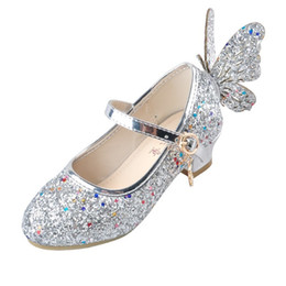 heeled shoes for kids UK - Ulknn Baby Princess Girls Shoes Sandals For Kids Glitter Butterfly Low Heel Children Shoes Girls Party Enfant Meisjes Schoenen Y190523