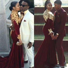 $enCountryForm.capitalKeyWord Australia - Burgundy Velvet Mermaid Evening Formal Dresses with Gold Lace Long Sleeve High Neck Nigeria Africa Formal Prom Party Gowns Custom Made