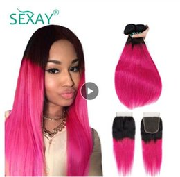 $enCountryForm.capitalKeyWord Australia - Pink Human Hair 3 Bundles With Closure Dark Roots Rose Pink Ombre Brazilian Straight Hair Weave With Lace Closure Non Remy Hair