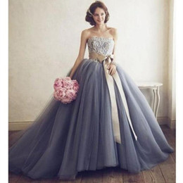 $enCountryForm.capitalKeyWord Australia - Strapless Lace Top Ball Gown Wedding Dresses Floor Length Ruched Cheap Bridal Gowns with Champagne Satin Sash Gray Garden Tulle Bride Dress