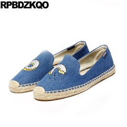 Chinese  Women Large Size Denim Blue Jeans Shoes Pineapple Flamingo Canvas Wing Cute Cartoon Eyelash Watermelon Rose Flats Espadrilles manufacturers