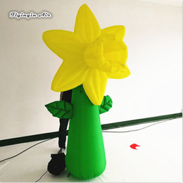 $enCountryForm.capitalKeyWord Australia - Simulation Inflatable Flower Plants 3m Height Yellow Blow Up Flower Pillar For Concert Stage And Event Theme Decoration