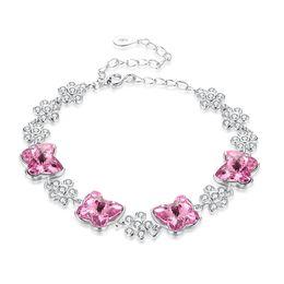 $enCountryForm.capitalKeyWord Australia - Fashionable Charm Bracelets Crystal From Swarovski Element Crystal Butterflies S985 Sterling Silver Bracelet Gorgeous Jewelry Gift POTALA237