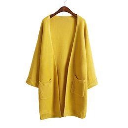 $enCountryForm.capitalKeyWord Australia - 2019 Ulzzang Girl Casual Long Knitted Cardigan Autumn Korean Women Loose Solid Color Pocket Design Sweater Jacket Pink Beige