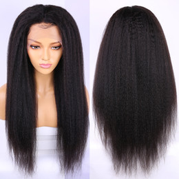 yaki wigs black women NZ - African american Yaki Kinky Straight 13x6 Lace Frontal closure Wig Indian Virgin Human Hair 360 lace frontal wig for Black Women 130%
