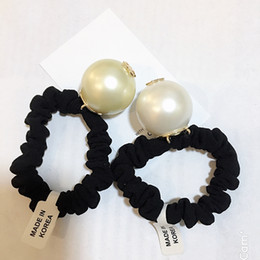 Big ladys online shopping - 3CM Super good quality Luxury Hair Accessories big pearl with marks hair rope for Ladys collection Item Fashion hair tie with bag party gift