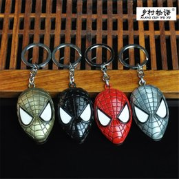superman chains NZ - DIY Superman Spider Man Mask Keychain Car Key Mobile Phone Bag Pendant Avengers Anime Metal Chain Fashion Accessories Halloween Gift