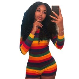 cb5e8f09c2 Fahion Long Sleeve O-Neck Rainbow Striped Skinny Jumpsuits Playsuits  Bodycon Women Sexy Rompers NightClub Beach Holiday