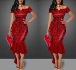 Wholesale Sexy Red Sheath Prom Evening Cocktail Dresses off shoulder Neckline Sleeveless New Year Celebrity Mermaid Party Gowns