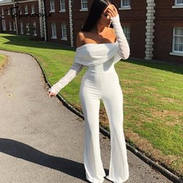 club rompers jumpsuits NZ - Tobinoone Off The Shoulder Casual Jumpsuit Autumn Winter Sexy Jumpsuit Overalls Women Long Sleeve Club Party Vacation Rompers MX190726