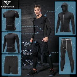 Silver Clothes For Men Australia - Fastorm Tracksuit For Men Running Sets Fitness Jogging Suits Compression Sportswear Basket Tight Gym Workout Clothes Sport Set Q190521