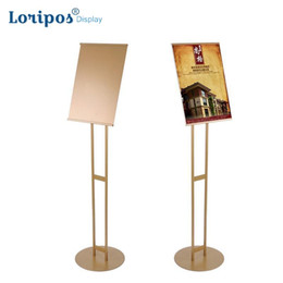 $enCountryForm.capitalKeyWord Australia - Metal Banner Stand Poster Rack Gold Poster Floor Stand Door Welcome Sign Frame Slopping Floor Menu Stand For Shopping Malls