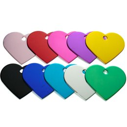 wholesale pet tags NZ - Wholesale 100pcs Heart Pet Dog Id Tag Collar Personalized Engraving Pet Id Tags Aluminum Dog Identification Name Address Tags