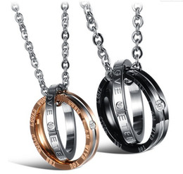 Titanium Coins Australia - Fashion Jewelry Men Womens Rhinestone Titanium Steel Couple Necklace eternal love shinning crystal drill stainless steel pendant Necklaces