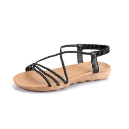 d04da35bd9b746 2019 Summer New Women s Sandals Rome Narrow Band Woman Shoes Beach Elastic  Band Leisure Flat Sandals Comfortable Lady Shoe 34-42