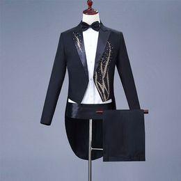 Mens black gold tuxedo forMal suit online shopping - Gold Embroidery Groom Tuxedos Black Handmade Mens Designer Formal Suits Wedding Prom Party Man Blazer Jacket Pant