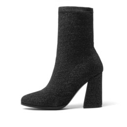 mid heel black patent shoes UK - 2019 Women Boots Stretch Fabrics Mid Calf Boots Spring Autumn Shoes High Heels Pointed Toe Ladies Sock Boots Size 34-43