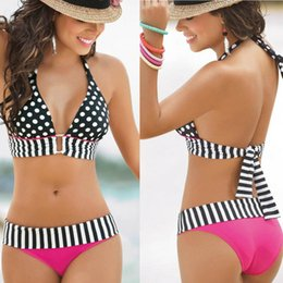 Las mujeres ocasionales atractivas ata para arriba el lunar de rayas de encaje halter push-up con relleno Trajes Trajes de baño playa de baño de dos piezas de vacaciones en venta