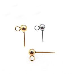 Stainless Steel Stud Earrings Bases Blank Settings 3mm 4mm 5mm Round Ball  with Loop Slide Ear Pins Earrings post DIY Findings d52a6724f88d