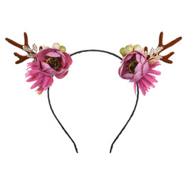 child reindeer antlers UK - 1pc Head Hoop Daisy Pink Reindeer Antler Hair Hoop Christmas Headband Headwear for Children Women Christmas Costume Party