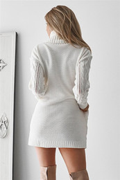 Fashion- Women's White Turtleneck Sweater Hollow Out Coarse Cable Knit Oversized Sweater Dress Winter Women Warm Baggy Sweater Female