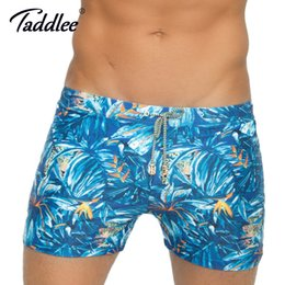 pocket penis Australia - Taddlee Brand Traditional Basic Long Men's Swimwear Swimsuits Swim Boxer Shorts Surf Board Trunks Pad Penis Pouch Pockets Inside