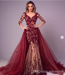 red lace zuhair murad mermaid Australia - Burgundy Lace Sexy Mermaid Evening Dresses South Africa Long Sleeve Picture Zuhair Murad Red Carpet Celebrity Dresses Detachable Trains