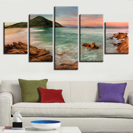 Wave Canvas Print Australia - Canvas Paintings Wall Art HD Prints 5 Pieces Beach Sea Waves Pictures Ocean Seascape Poster Modular Living Room Frame Home Decor