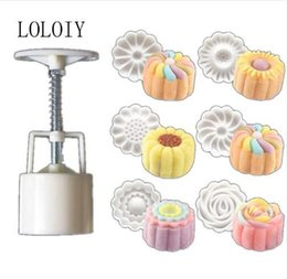 Make Icing Flowers Australia - 1 SET 50g 6 Styles Hand Made ice Moon Cake Mooncake Decoration Mold Mould Flowers Round DIY Tools Pastry Hand Press